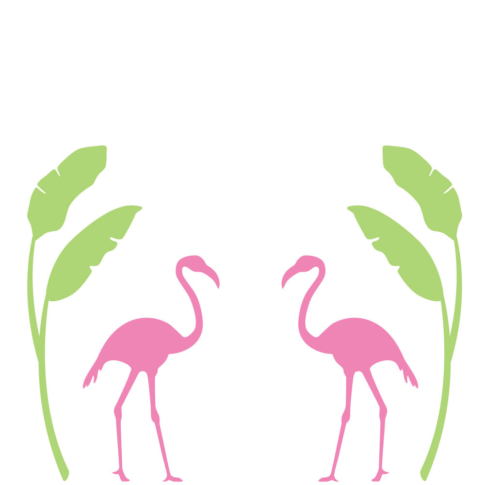 Flamingo and Palm Wall Mural Decal Set