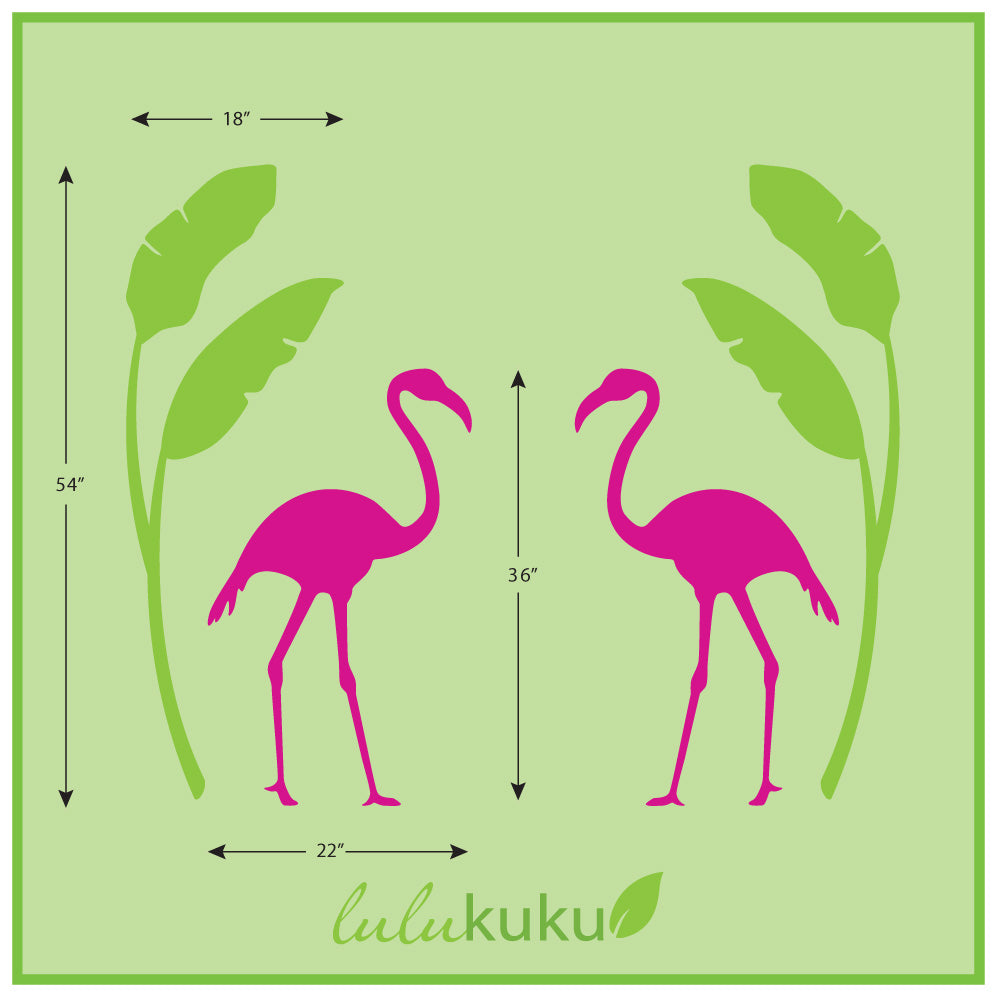 Flamingo and Banana Palm Mural Dimensions