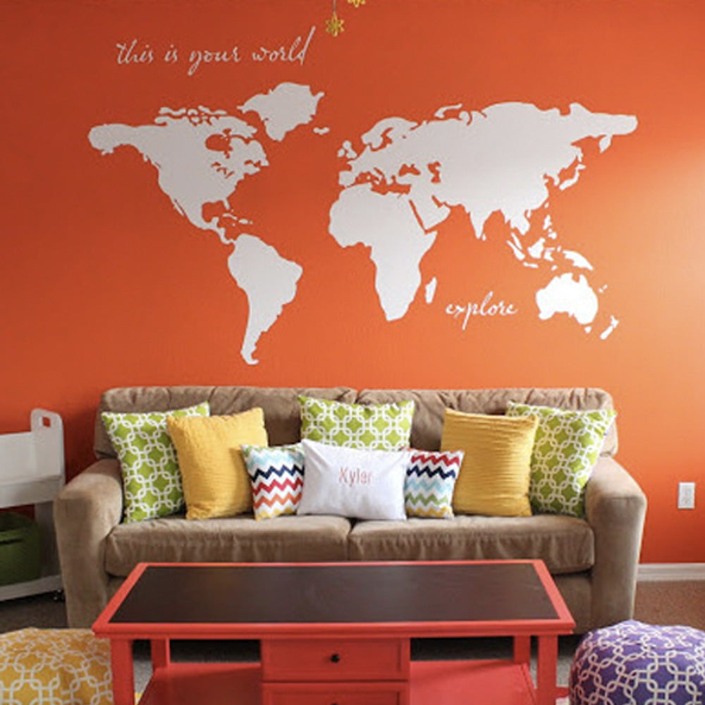 Playroom Wall Decor World Map Decal