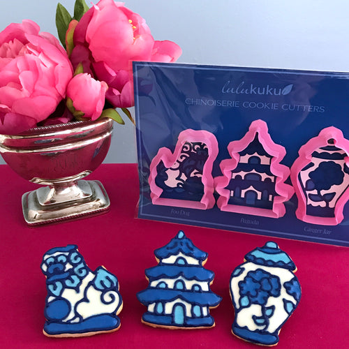 Chinoiserie Outline Cookie Cutters - Foo Dog - Pagoda - Ginger Jar