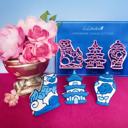 Chinoiserie Detail Cookie Cutters - Foo Dog - Pagoda - Ginger Jar