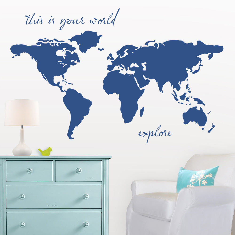 World Map Wall Decal Navy Blue Boy Nursery