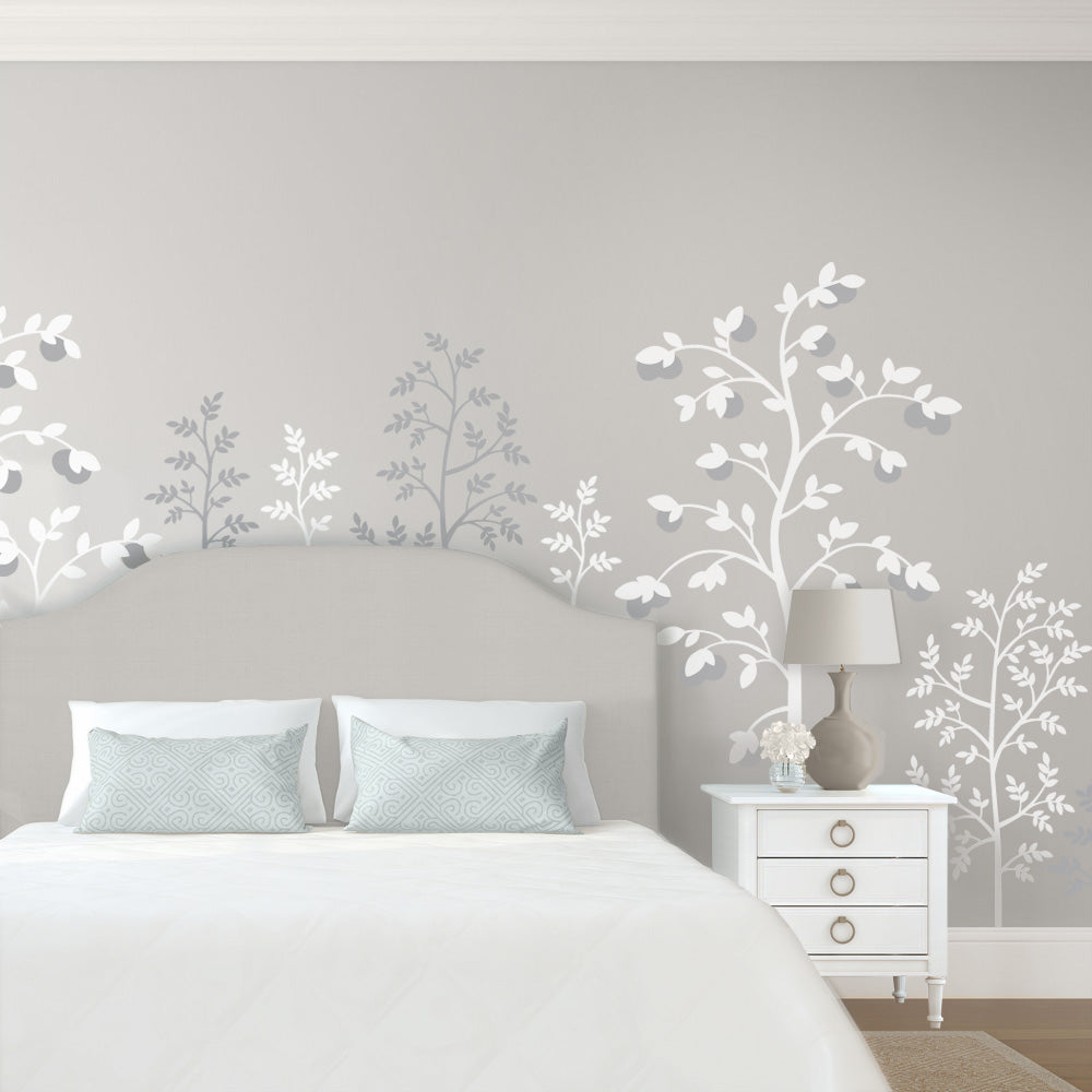 Chinoiserie Mural Gray Bedroom Wallpaper
