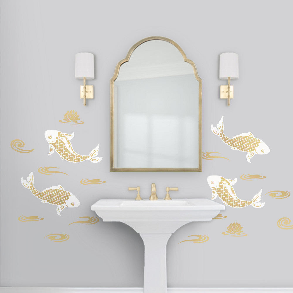 Gold Koi Chinoiserie Bathroom