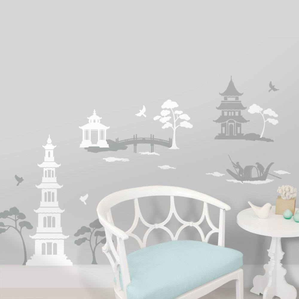Chinoiserie Pagoda Mural Gray Bedroom