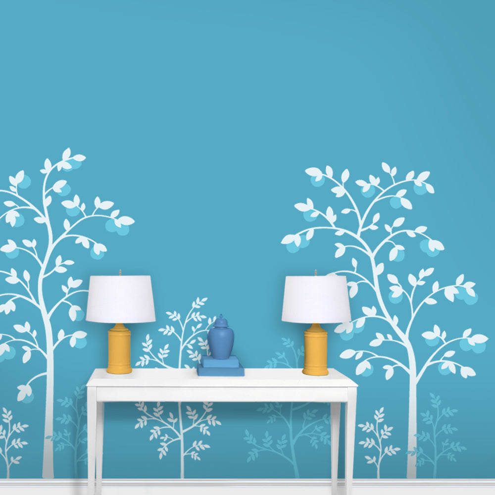 Chinoiserie Fruit Tree Wallpaper Turquoise Entryway