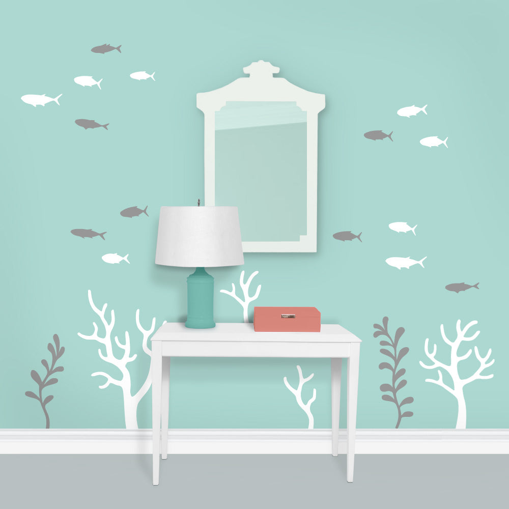 Chinoiserie Coral Mural Removable Wall Decals