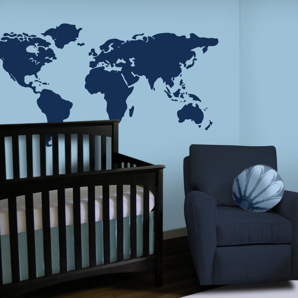 Large world map wall decal 7 feet wide lulukuku navy world map wall decal baby boy nursery gumiabroncs Choice Image