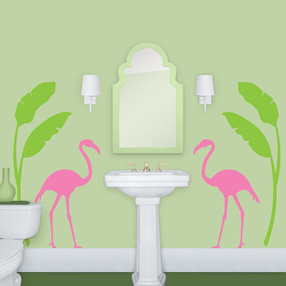Flamingo Palm Bathroom Pink and Green