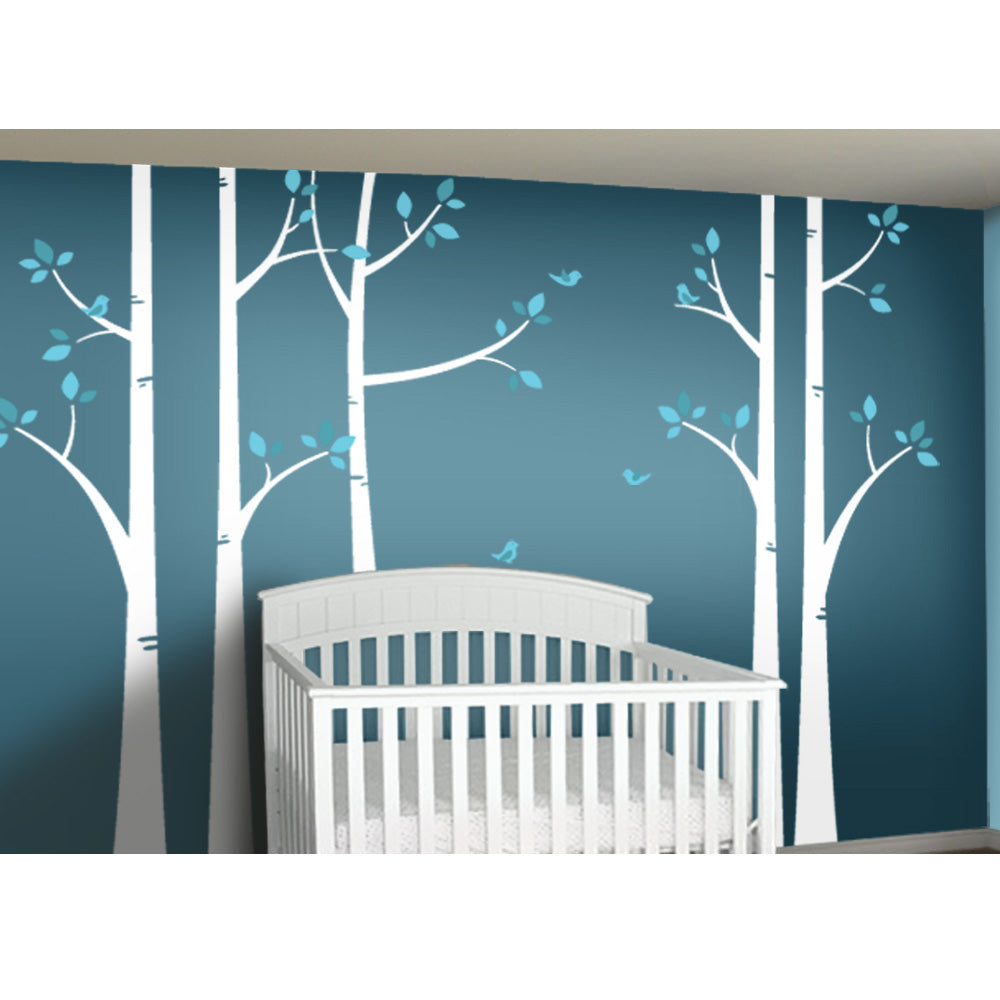 Woodland Forest Birch Tree Decal Set for Nursery Turquoise