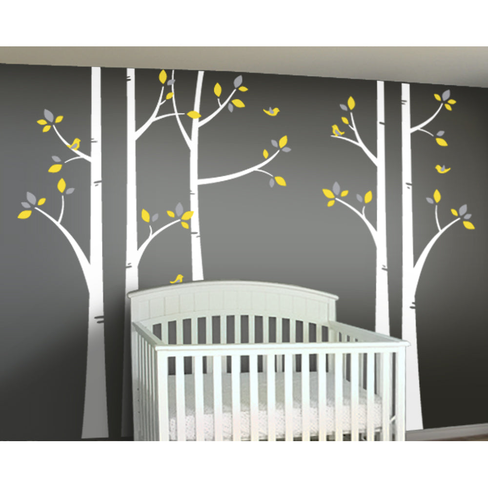Woodland Forest Birch Tree Decal Set For Yellow And Gray Nursery