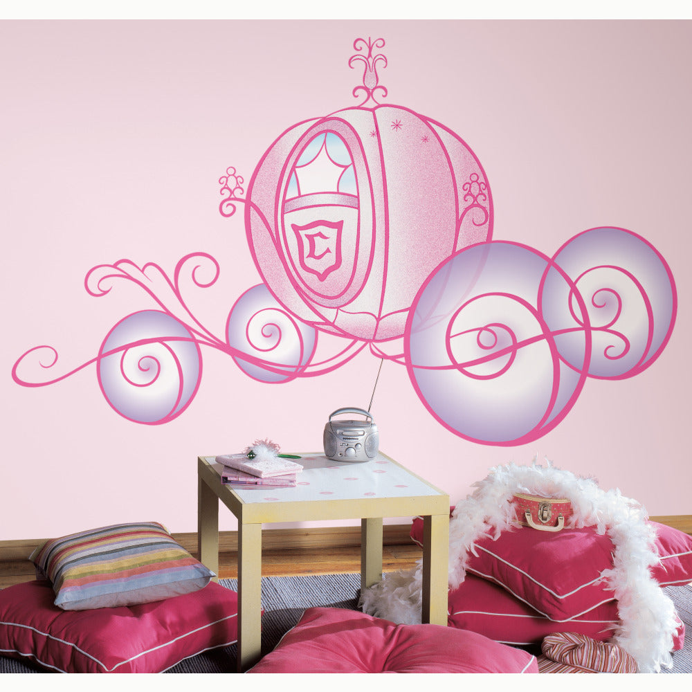 Rmk1522slm disney princess carriage peel stick giant wall decal rmk1522slm pink wall stickers wall decor wall decals self adhesive roommates room decor repositionable removable amipublicfo Choice Image