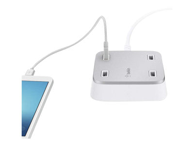 BELKIN ROCKSTAR MULTIPLE PORT  WALL CHARGER,USB PORT(4), POWER (5.4A) - WHITE
