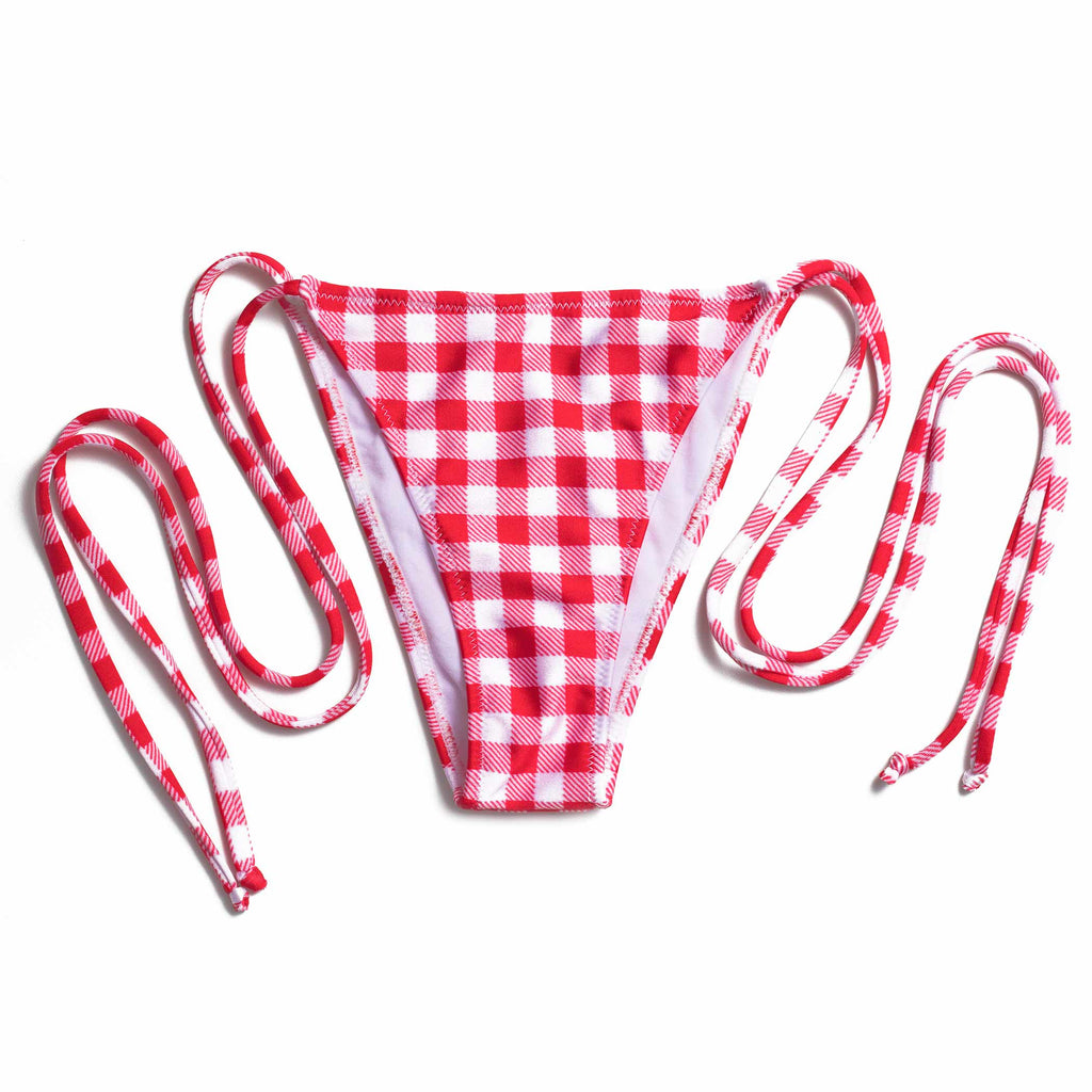 TINY SIDE TIE RED GINGHAM (CALCINHA/BOTTOM)