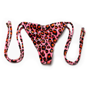 TINY SIDE TIE LEOPARD PINK NEON VEVET (CALCINHA/BOTTOM)