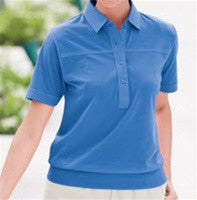 Leon Levin Womens Short Sleeve Banded Bottom 104 Blue - bandedbottom