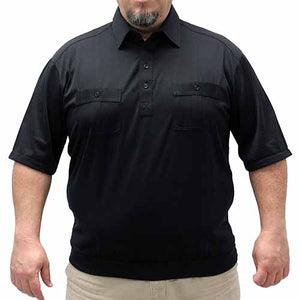 Palmland Short Sleeve Two Pocket Banded Bottom 1109 Big and Tall-Black - theflagshirt