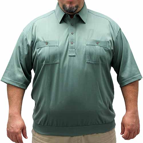 Palmland Short Sleeve Two Pocket Banded Bottom 1109 Big and Tall-Sage