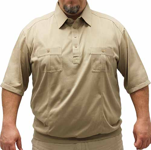 Palmland Short Sleeve Two Pocket Banded Bottom 1109 Big and Tall-Taupe - theflagshirt