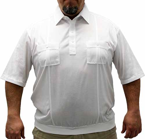 Palmland Short Sleeve Two Pocket Banded Bottom 1109 Big and Tall-White