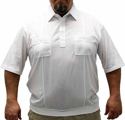 Palmland Short Sleeve Two Pocket Banded Bottom 1109 Big and Tall-White - bandedbottom