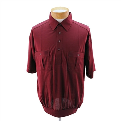 Palmland Short Sleeve Two Pocket Sage Banded Bottom 1109BT-Burgundy - bandedbottom