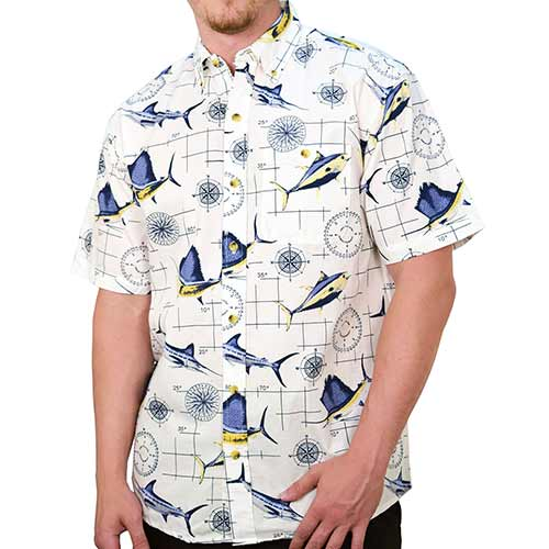 Mens short sleeve Nautical woven shirt