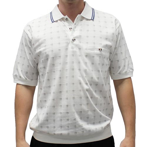 Safe Harbor Allover Short Sleeve Banded Bottom Shirt 112001 - bandedbottom