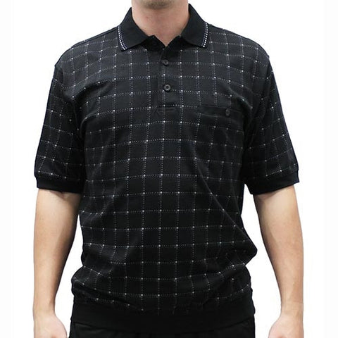 Safe Harbor Allover Short Sleeve Banded Bottom Shirt 112004 - Black - theflagshirt
