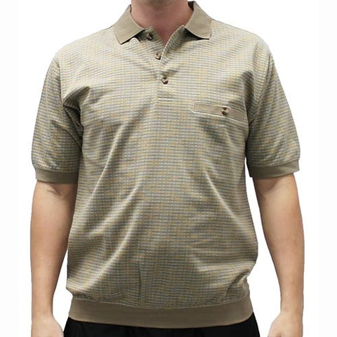 Safe Harbor Allover Short Sleeve Banded Bottom Shirt 112007 Taupe - theflagshirt