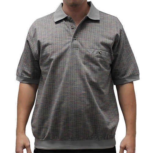 Safe Harbor Allover Short Sleeve Banded Bottom Shirt 112010 - bandedbottom