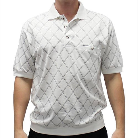 Safe Harbor Allover Short Sleeve Banded Bottom Shirt 112014 - bandedbottom