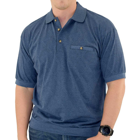 Classics By Palmland Diamond Short Sleeve Banded Bottom Shirt 112017 Navy - theflagshirt