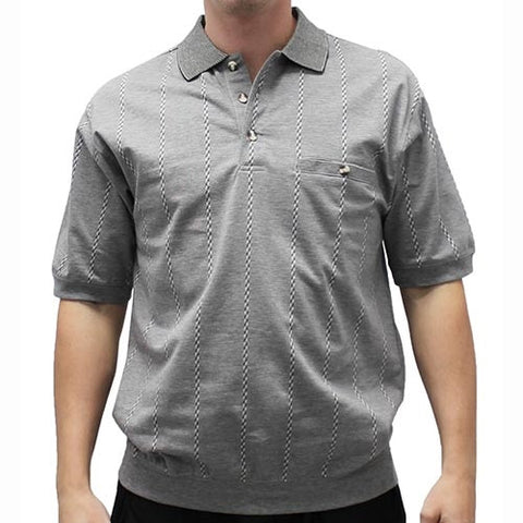 Safe Harbor Allover Short Sleeve Banded Bottom Shirt 112023 Gray - theflagshirt