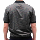 Classics by Palmland Allover Short Sleeve Banded Bottom Shirt 112025 - Black - theflagshirt