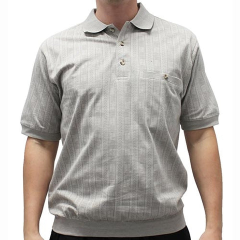 Safe Harbor Allover Short Sleeve Banded Bottom Shirt 112028 - bandedbottom