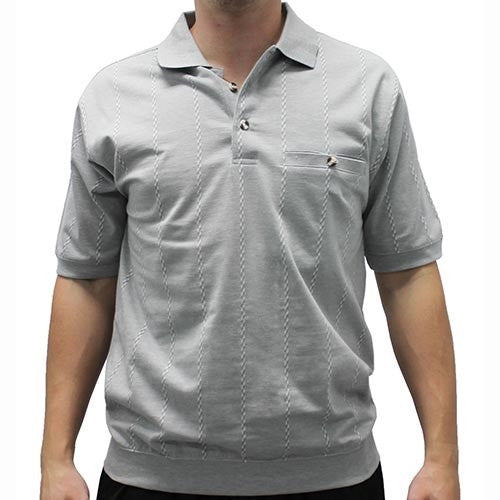 Safe Harbor Allover Short Sleeve Banded Bottom Shirt 112030 Gray - theflagshirt