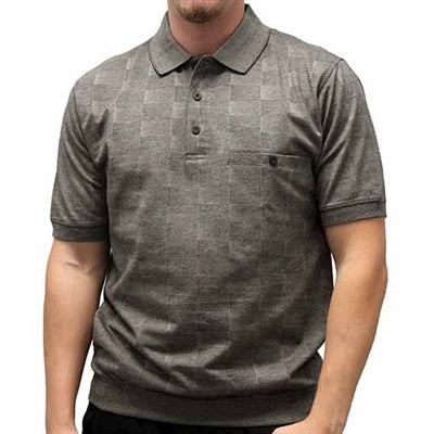 Safe Harbor Allover Short Sleeve Banded Bottom Shirt 112046 Charcoal