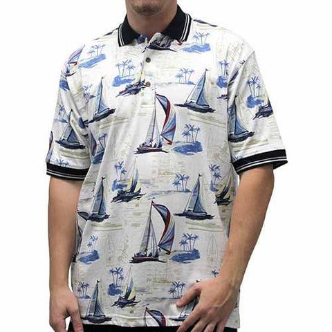 Palmland Men's Boat Sketch Polo Shirt - bandedbottom