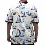 Load image into Gallery viewer, Palmland Men's Boat Sketch Polo Shirt -135335-BB - theflagshirt