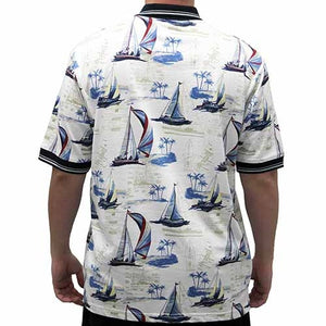 Palmland Men's Boat Sketch Polo Shirt -135335-BB - theflagshirt