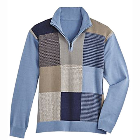 Men's Scandia Woods Quarter-Zip Sweater - 5800-910B Blue Big and Tall - bandedbottom