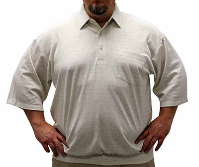 Classic By Palmland Grid Short Sleeve Banded Bottom Shirt 6010-100 Big and Tall Tan - theflagshirt