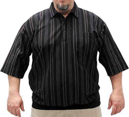 Classics by Palmland Stripe Short Sleeve Banded Bottom Shirt 6010-106 Big and Tall Black - bandedbottom