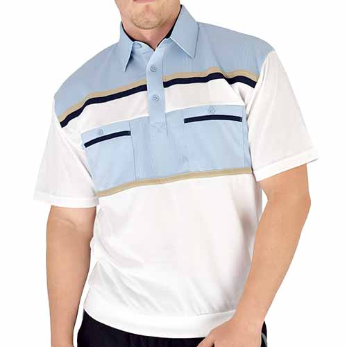 Classics By Palmland Knit Banded Bottom Shirt - 6010-120 Lt Blue - bandedbottom