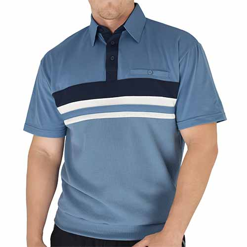 Classics By Palmland Knit Banded Bottom Shirt - 6010-122BT Marine - theflagshirt