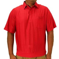 Big and Tall Tone on Tone Textured Knit Short Sleeve Banded Bottom Shirt - 6010-16BT - Red - bandedbottom