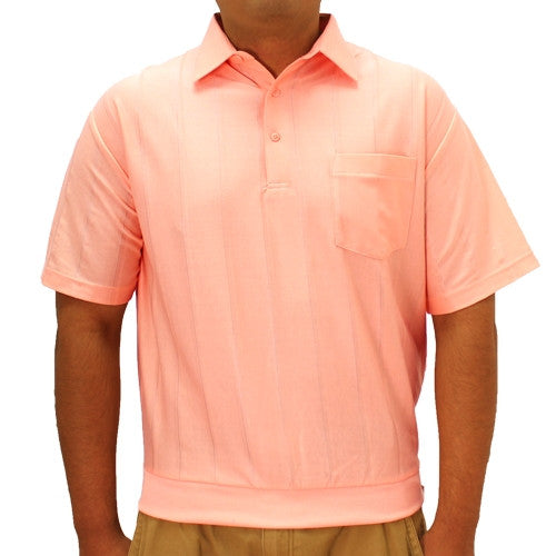 LD Sport Tone on Tone Textured Knit Short Sleeve Banded Bottom Shirt 6010-16 Melon - bandedbottom