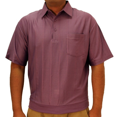 LD Sport Tone on Tone Textured Knit Short Sleeve Banded Bottom Shirt 6010-16 Plum - bandedbottom