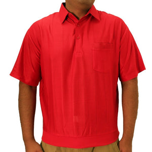 LD Sport Tone on Tone Textured Knit Short Sleeve Banded Bottom Shirt 6010-16 Red - theflagshirt